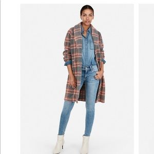 Express Plaid Blanket Knit Cocoon Coat